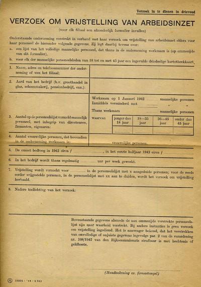 Verzoek om vrijstelling van arbeidsinzet
