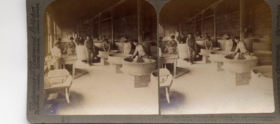 Plate Glass Works, Tarantum. Pa. - modeling clay pots for molten glass - moving pot to drying room