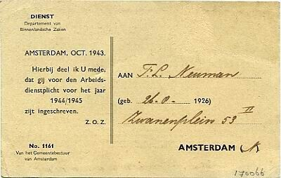 Inschrijving Arbeidsdienstplicht 1944/1945