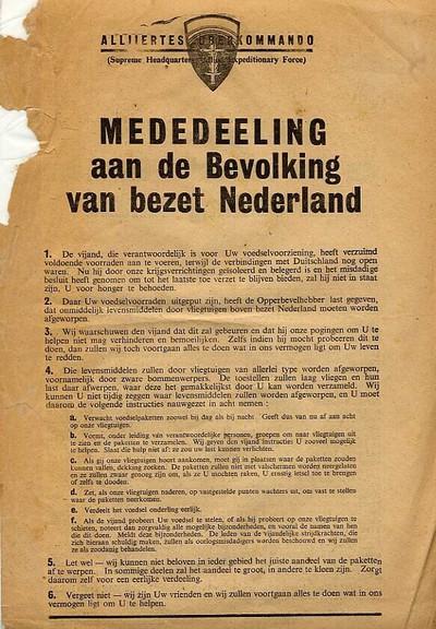 Bekanntmachung an die deutsche Garnison der Festung Holland