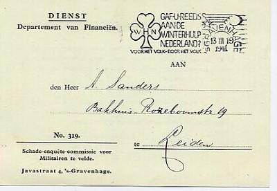 Briefkaart van het Departement van Financiën waarmee de aanvraag voor een schadeloosstelling in verband met verloren goederen wordt bevestigd. De briefkaart is voorzien van een poststempel van de Winterhulp Nederland.