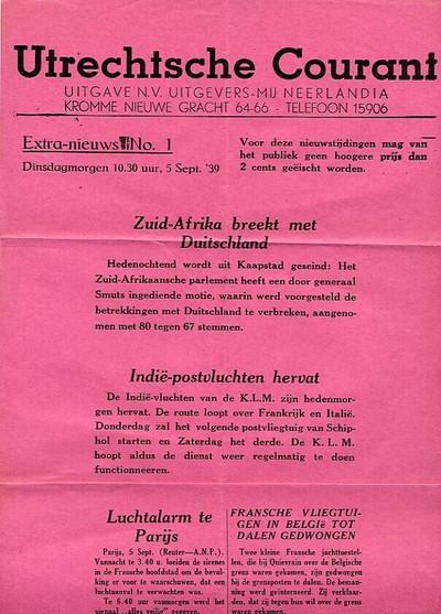 Utrechtsche Courant, extra nieuws no. 1, dinsdagmorgen 10.30 uur, 5 sept. 1939