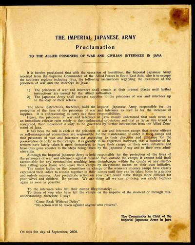 Proclamatie aan alle krijgsgevangenen en geïnterneerden op Java