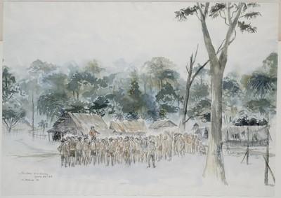 ochtendappèl in een kamp aan de Birma-spoorweg
