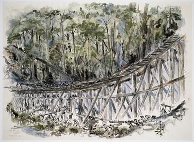 bouw van een brug over een rivier bij de aanleg van de Birma-spoorweg