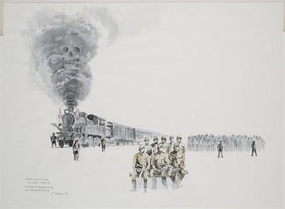 groepsportret aan de Birma-spoorweg