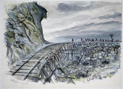 spoorbrug met ploeg krijgsgevangenen aan de Birma-spoorweg