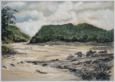 baden van olifanten aan de Birma-spoorweg