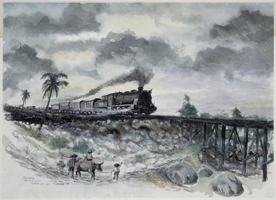 goederentrein rijdend over een brug van de Birma-spoorweg