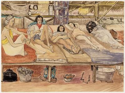 barakinterieur met vijf vrouwen