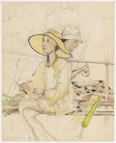 twee bamboesnijdende vrouwen