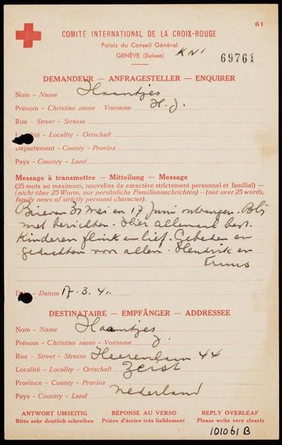 Rode Kruis van H.J. Haantjes gericht aan J. Haantjes