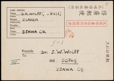 Van G.A. Wolff aan J.W. Wolff