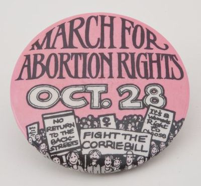 Button. 'March for abortion rights, Oct. 28'