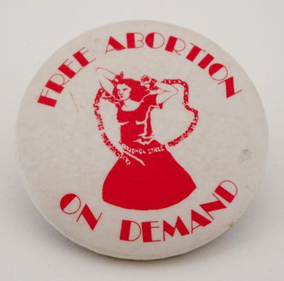 Button. 'Free abortion on demand'
