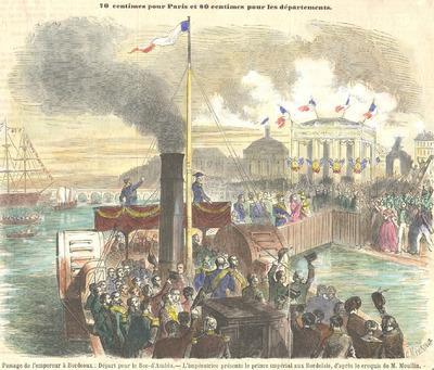 Gravure «Passage de l'empereur à Bordeaux»
