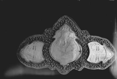 Woman belt silver buckle with Nativity of Christ, Sts Constantine and Helena