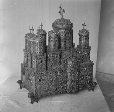 """""""The Venetian ciborium"""" – silver and gold filigree ciborium, a miniature model of the San Marco cathedral"""