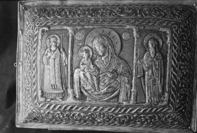 Reliquarium with Mother of God and saints Sabbas and Simeon of Serbia