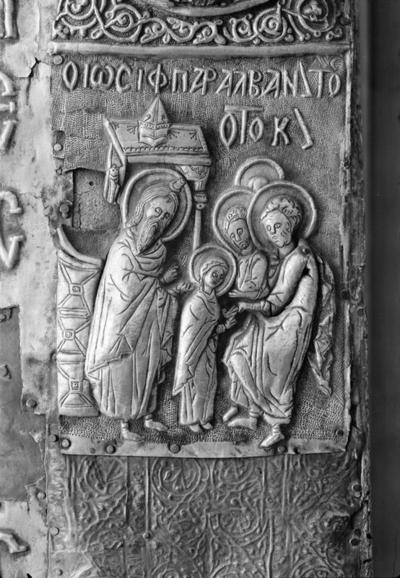Presentation of the Virgin Mary in the Temple, detail from thecover of the icon of Mother of God Eleousa