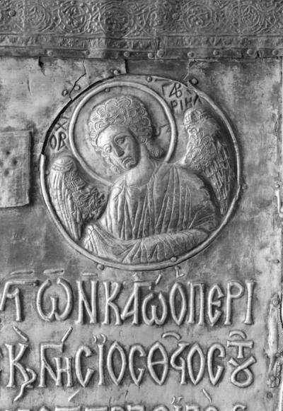 Archangel Gabriel, detail from the cover of the icon of Mother of God Eleousa
