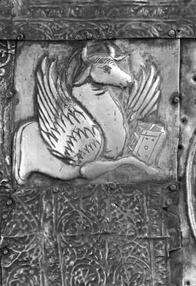 An ox, the symbol of Luke the Evangelist, detail from the cover of the icon of Mother of God Eleousa