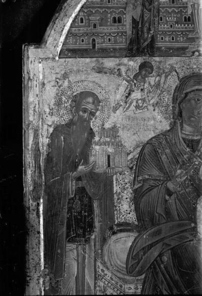 Virgin Mary Hodegetria with St Athanasius the Athonite and St George, and Crusifxion, detail