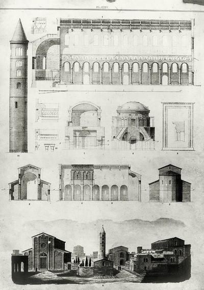 Incisione rappresentante la Basilica di Sant'Agata Maggiore, San Giovanni Evangelista e il Mausoleo di Teodorico a Ravenna