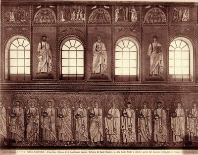 Ravenna, Basilica di Sant'Apollinare Nuovo, Particolare della parete sud con la processione dei martiri, i profeti e storie della Passione di Cristo