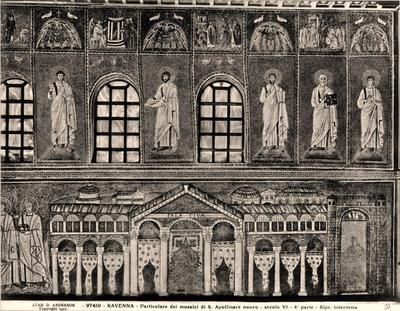 Ravenna, Basilica di Sant'Apollinare Nuovo, Particolare della parete sud con il palazzo di Teodorico, la teoria dei martiri, i profeti e le storie di Cristo
