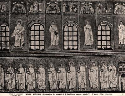 Ravenna, Basilica di Sant'Apollinare Nuovo, Particolare della parete sud con la teoria dei santi martiri, i profeti e le storie di Cristo