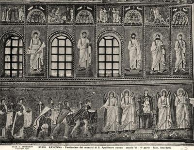 Ravenna, Basilica di Sant'Apollinare Nuovo, Particolare della parete nord con l'Adorazione dei Magi, la Madonna con Bambino e angeli, i profeti e le storie di Cristo.