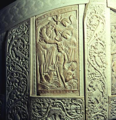 Ravenna, Museo Arcivescovile, Cattedra di Massimiano, Battesimo di Cristo