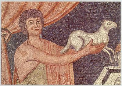 Ravenna, Basilica di Sant'Apollinare in Classe, Sacrifici di Abele, Abramo e Melchisedec, particolare