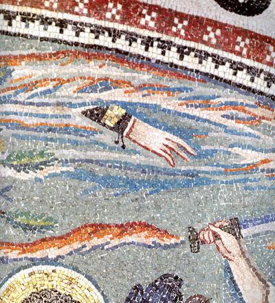 Ravenna, Basilica di San Vitale, Lunetta con episodi della vita di Abramo, particolare
