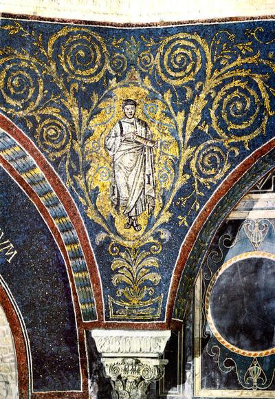 Ravenna, Battistero Neoniano, Fascia decorativa con girali, profeti e iscrizioni, particolare