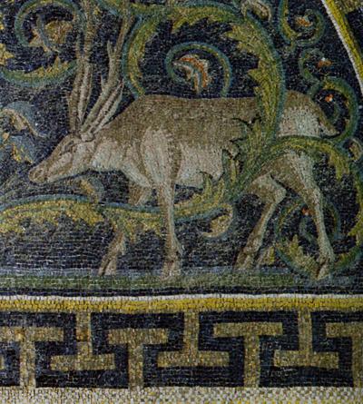 Ravenna, Mausoleo di Galla Placidia, Lunetta con cervi che si abbeverano, particolare