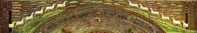 Ravenna, Basilica di Sant'Apollinare in Classe, Le città di Gerusalemme e Betlemme e le dodici pecorelle