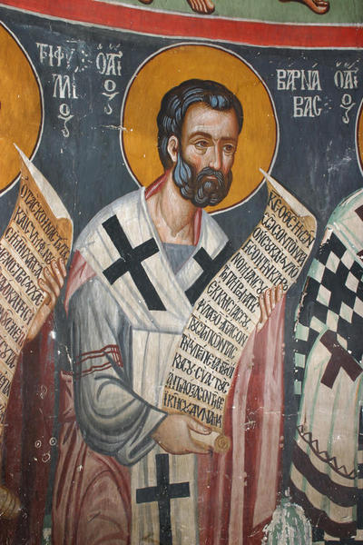 Holy Bishopric of Morphou:  Mural painting of St Triphyllios and St Barnabas,Church of the Holy Cross of Ayiasmati (3-3,5)