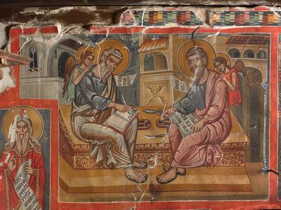 Holy Bishopric of Morphou: Mural painting of St Mathew and St luke, Church of the Holy Cross of Ayiasmati (2-2,40)