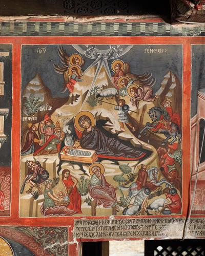 Holy Bishopric of Morphou: Mural painting of the Nativity, Church of the Holy Cross of Ayiasmati (2-2,43)