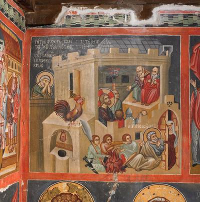 Holy Bishopric of Morphou: Mural painiting of the Denial of Peter, Church of the Holy Cross of Ayiasmati (1-1, 94)