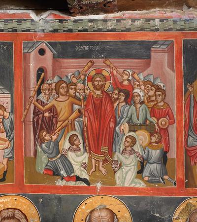 Holy Bishopric of Morphou:  Mural painting  of the mocking of the Christ, Church of the Holy Cross of Ayiasmati ( 1-1, 96)