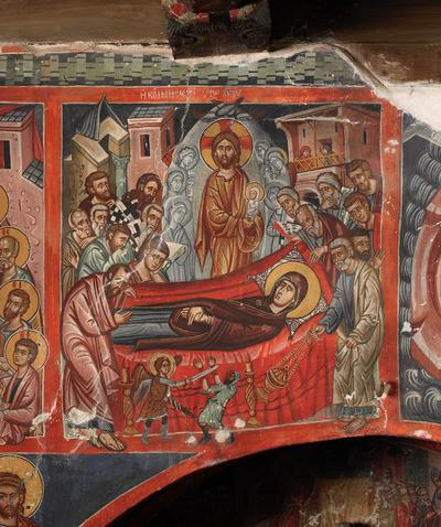 Holy Bishopric of Morphou: Mural painting of the dormition, Church of the Holy Cross of Ayiasmati (1-1,101)