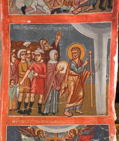Holy Bishopric of Morphou: Mural painting of sing ye to the Lord, for he hath triumphed gloriously, Church of the Holy Cross of Ayiasmati ( 3-3,87)