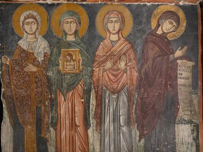 Holy Bishopric of Morphou: Mural painting of St Barbara, St Praskeve, St Marina and the Virgin Mary, Church of the Holy Cross of Ayiasmati (8-8, 114, 115)