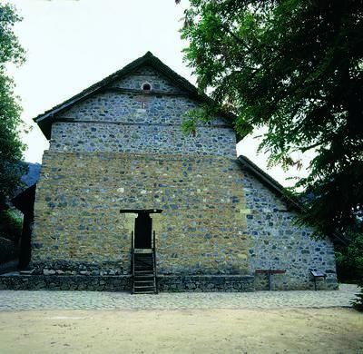 Holy Bishopric of Morphou: External north side of the chapel of the Akathistos Imnos', Monastery of Saint John Lampadistis in Kalopanayiotis