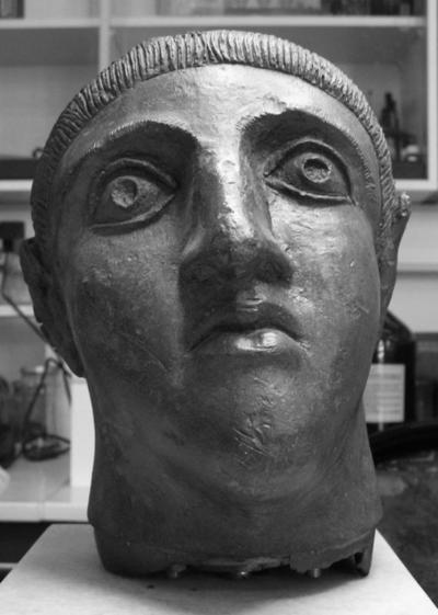 Bronze head of emperor with socket for insertion into statue, Metropolis (Thessalia), now Athens Archaeological Museum