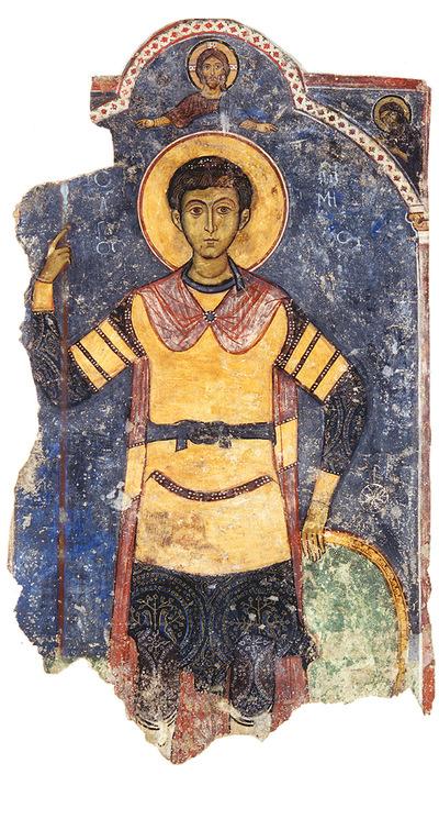 Μουσείο Ιεράς Μονής Κύκκου (Κύπρος): Αποτοιχισμένη τοιχογραφία με απεικόνιση Αγίου Δημητρίου από το ναό Αγίου Αντωνίου, Κελλιά, Λάρνακα (Ε 807)
