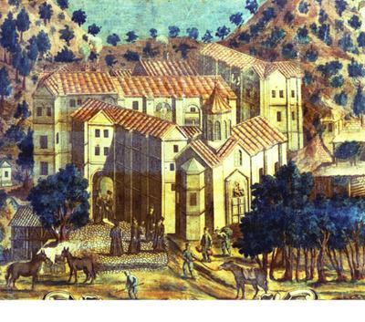 Μουσείο Ιεράς Μονής Κύκκου (Κύπρος): Η Ιερά Μονή Κύκκου, λεπτομέρεια από επιχρωματισμένη χαλκογραφία. Έργο του Μιχαήλ του Αποστόλη. Τυπώθηκε στη Βενετία το 1778. Αποτελεί μια από τις 15 σκηνές με την ιστορία της αγίας Εικόνας και της Ιεράς Μονής Κύκκου που απεικονίζονται γύρω από την κεντρική εικόνα της Ελεούσας του Κύκκου.